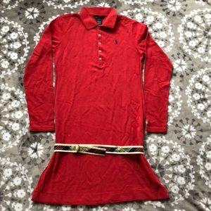 Ralph Lauren Girls size XL (16) madras belt dress
